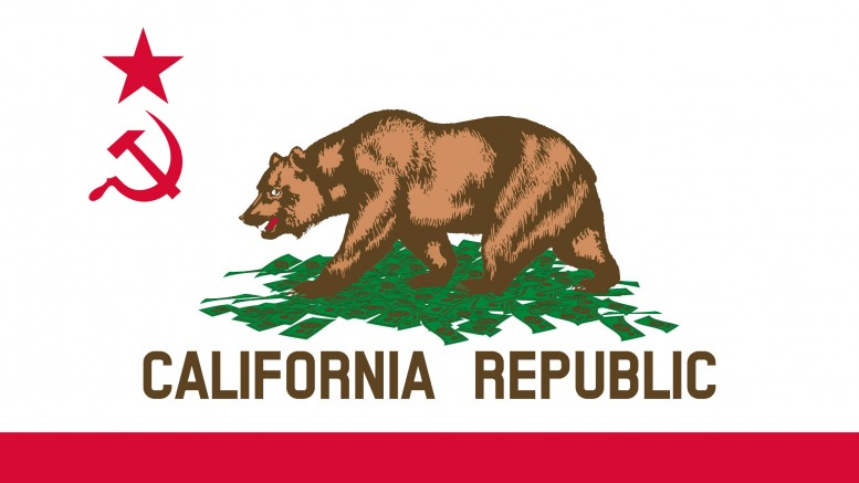 California state flag communist socialist hammer sickle symbol bear pile of money